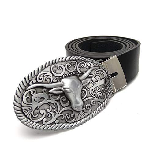 JWJQTLD Cinturón De Hombre Hebilla De Moda Correas Mens Longhorns Cabeza Cowboy Metal Hebilla Cinturón De Cuero De Mens Casual