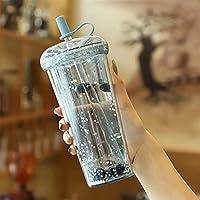 ウォーターカップ Kawaiiの泡茶水のびんのびっくりな飲み物の茶ジュースの女の子の輝くびんの女の子のための輝くbpa無料 トラベル (Capacity : 520ml, Color : Blue)