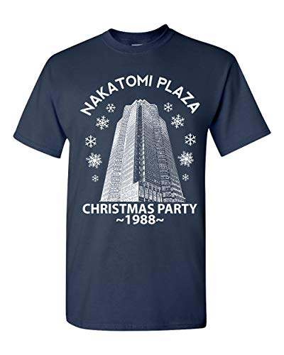 Nakatomi Plaza Christmas Party 1988 Classic McClane Die Hard Xmas Ugly Christmas Sweater Graphic T-Shirt, Navy, Medium