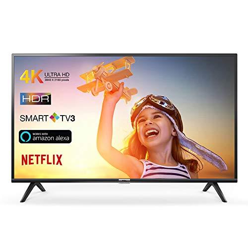 TCL 43DP602 Smart TV de 43 Pulgadas con UHD 4K, HDR, Dolby Digital Plus, T-Cast y sintonizador Triple, Color Negro