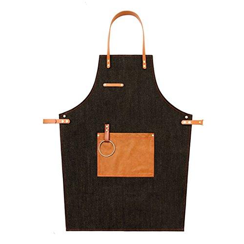YUENA CARE Delantal de Camarero Cocinero Mandil Denim Ajustable con Bolsillo para Mujeres Hombres de Moda para Cafetería Tienda de Postres Restaurante Negro
