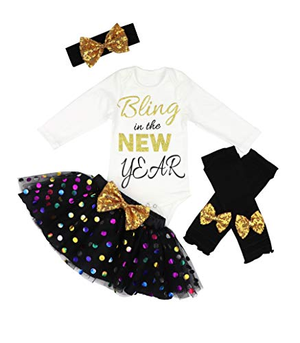 Baby Girl First New Year Tutu Dress Outfit My 1st New Year Romper + Leg Warmers + Headband+Tutu Dress 9-12 Months Black