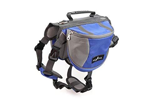 PETTAIL Petail Hundesatteltaschen, Wanderausrüstung, Rucksack für Reisen, Small, blau
