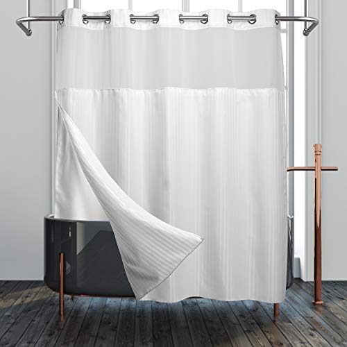 Modern Hotel Grade No Hooks Needed Shower Curtain or Liner...