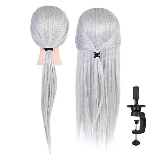 Pop voor de training van het hoofd, voor mannen, cosmetica, mannequin-hoofd, salon-haarstyling-praxis-hoofd-kunstvezel-haar met clip-stand