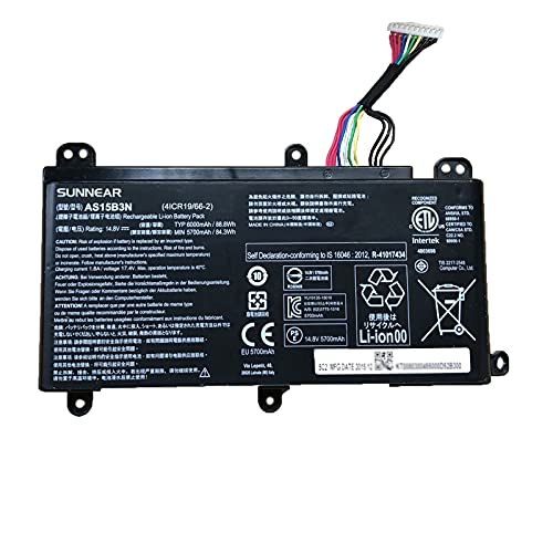 SUNNEAR AS15B3N 88.8Wh Battery Replacement for ACER Predator 15 G9-591 Predator 17 G5-793 Predator 17 X GX-791 Series Laptop 14.8V 6000mAh