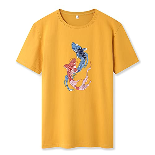 T-Shirt Hombre Básica Cuello Redondo Estampado Moda Manga Corta Hombre Shirt Transpirable Slim Fit Verano Hombre Shirt Ocio Personalidad Tendencia Hombre Ropa De Calle B-Yellow XXL