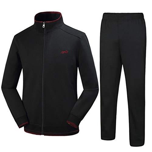 Dasongff heren joggingpak trainingspak fitness mannen sweatjack sportkleding joggen fitnesspak sweatshirt + streetwear broek sportpak voor gym warm trainingspak XXXL zwart
