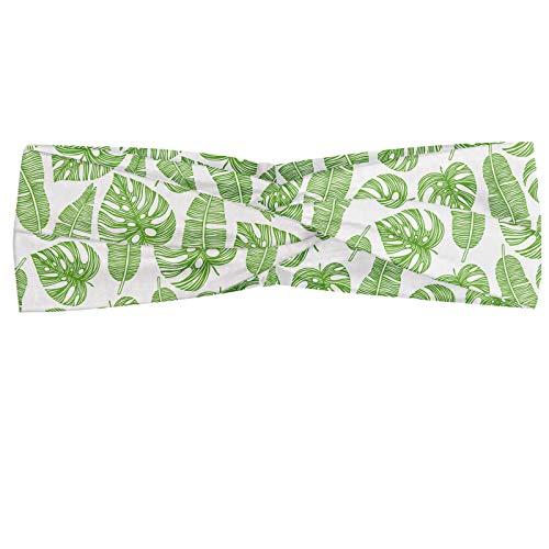 ABAKUHAUS Diadame Aloha, Banda Elástica y Suave para Mujer para Deportes y Uso Diario Monocromática continua repetición de la selva tropical de Hawai hojas, Lime Green White