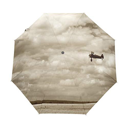 SUHETI Regenschirm Taschenschirm,Flugzeug im dramatischen bewölkten Himmel Aviation Flyby Obsolete Composition Print,Auf Zu Automatik,windsicher,stabil