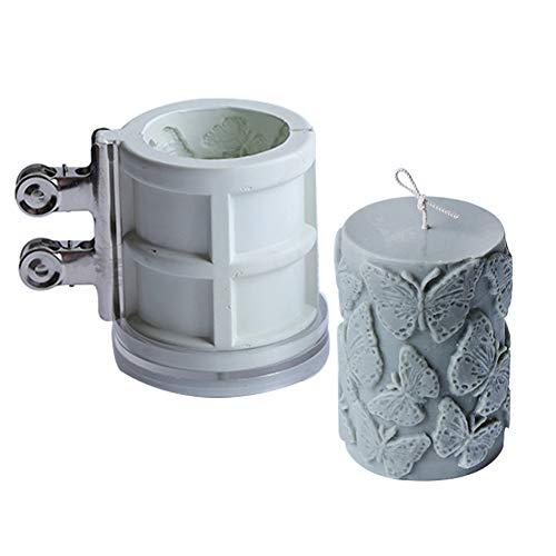 ZJONE Kerzenformen Zum Gießen Groß Silikonform Stumpenkerze Mit Schmetterling Frangipani Geprägte Für DIY Hausgemachte Kerzen Aroma Gips Seife (Frangipani)