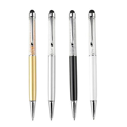 Penna a sfera 2 in 1 di qualità con cristalli ed estremità posteriore gommata per touchscreen. 4 ricariche incluse (SET DI 4: BIANCO, NERO, ARGENTO, LATTE)