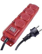 EMOS Stekkerdoos 4-voudig met schakelaar, 10 m kabel, IP44 voor buiten met klapdeksel, zwart/rood, 1,5 mm, Schuko meervoudig stopcontact met kinderbeveiliging