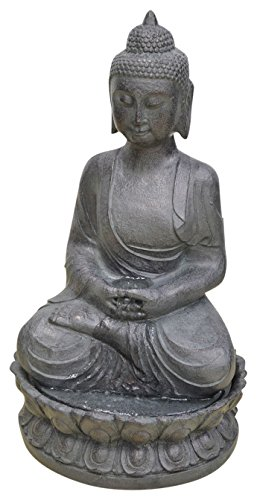 Heissner Buddha, fuente de agua para sentarse, gris, 43 x 35 x 73 cm