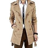 BOLAWOO Gabardina para Hombre Larga Doble Chaqueta Botonadura De Slim Mode De Marca Fit Militar con Cinturón Abrigos De Transición Acogedores Únicos (Color : Khaki, Size : XL)