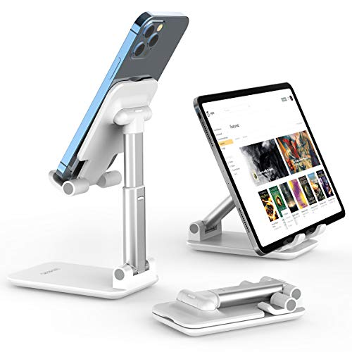 Cell Phone Stand, Licheers Foldable Phone Holder, Angle Height Adjustable Phone Stand for Desk, Compatible with 4