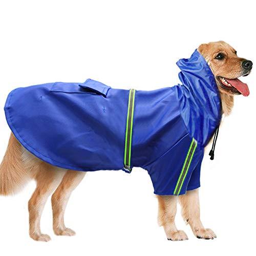 BLEVET Mascota Perro Impermeables con Capucha Chubasqueros para pequeña Medianas Grandes Perros MZ058 (L, Blue)