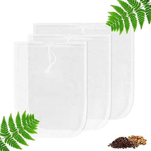 Yoassi 3 PZ Sacchetto Filtrante Borsa Latte Vegetale Sacchetto Filtro per Latte di Mandorle Sacca Multiuso Filtrante Riutilizzabile Colino per Latte di Noci,Frutta Secca