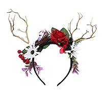 PIXNOR クリスマストナカイ枝角ヘッドバンド妖精の枝角ヘアバンド赤いバラの葉クリスマスパーティー用品のヘアアクセサリー