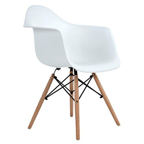 EGGREE 1 Sedia Sala da Pranzo Moderno Design, Poltrona Camera da Letto in Polipropilene con Gambe in Legno Massello di Faggio, Bianco