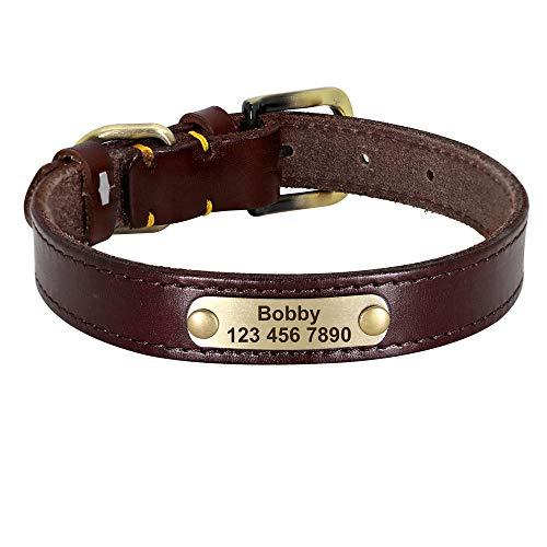Correas básicas para Perros Collar de Cuero Personalizado para Perros Collar de identificación para Mascotas con Hebilla Dorada de Cuero para Perros pequeños, medianos y Grandes-Marron Oscuro_L