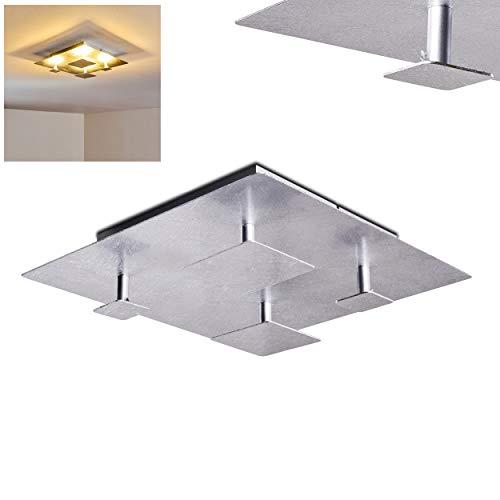 LED plafondlamp Nadkala, vierkante metalen plafondlamp in zilver, 15 Watt, 1420 Lumen (totaal), lichtkleur 3000 Kelvin (warm wit), indirect licht