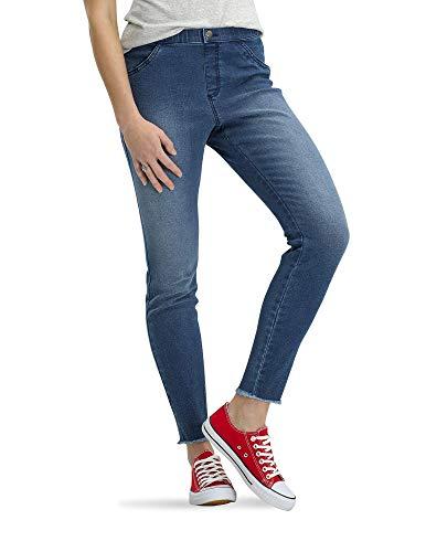 No Nonsense Women's Frayed Edge Denim Leggings, Medium Wash, XX-Large