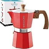 GROSCHE Red Milano Stovetop Espresso Maker, 6 cup