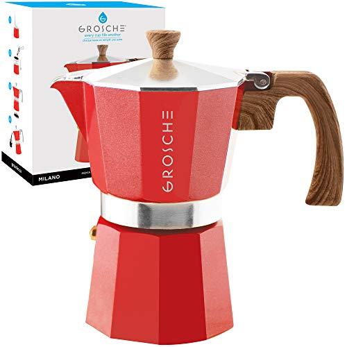 GROSCHE Milano Stovetop Espresso Maker Moka Pot 6 espresso Cup, 9.3 oz, Red - Cuban Coffee Maker Stove top coffee maker Moka Italian espresso greca coffee maker brewer percolator