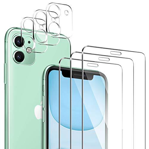 """ivencase für iPhone 11 Panzerglas Schutzfolie [3 Stücke] + iPhone 11 Kamera Panzerglas [3 Stücke], Unterstützt Blitzaufnahmen, Blasenfrei HD Klar Gehärtetem Glas Displayschutz für iPhone 11 6.1\"""""""