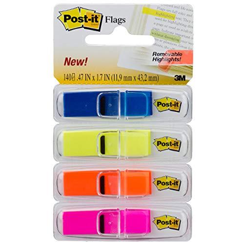 Marcador de Página Adesivo Post-it Flags Transparentes 4 Cores 11,9 mm x 43,2 mm - 140 folhas
