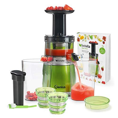 Genius Feelvita Slow Juicer (15 Teile) DELUXE Entsafter/Saftpresse für Obst & Gemüse leistungsstarker Induktion-Motor - 100% Vitamine & Mineralien für 100% Fruchtgenuss
