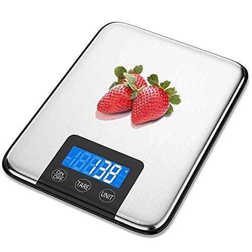 QNSZBD Báscula Digital para Cocina de Acero Inoxidable, 33 lbs Bascula Comida de Precisión, Balanza de Alimento Multifuncional, Peso de Cocina con LCD Retroiluminación