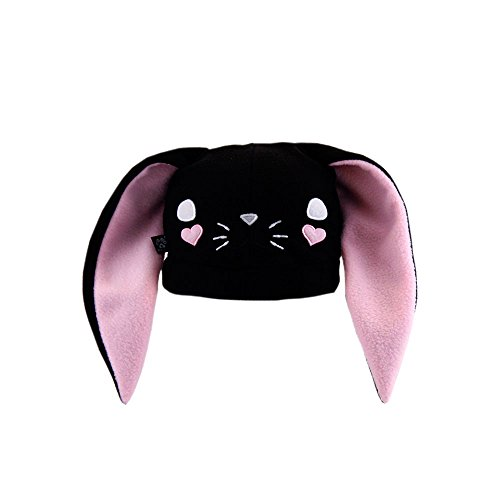 Pawstar Bynny Ears Hat Bunny Loves You Fleece Embroidered Kawaii Animal Face - Black
