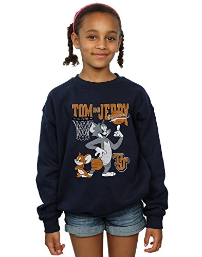 Absolute Cult Tom and Jerry Mädchen Spinning Basketball Sweatshirt Navy Blau 7-8 Years