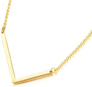 DIANE LO'REN Gold Tone Sideways Initial Necklace Gold Pendant Necklace Love Letter Necklace for Women Girls Large Letters A - Z for Mother's Day