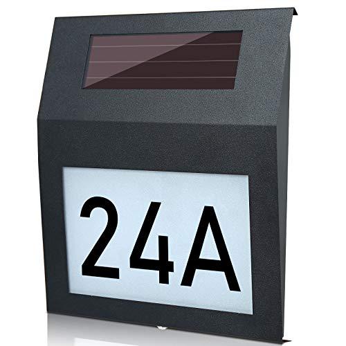 Hengda Beleuchtete LED Solar Hausnummer mit 100 LM LEDs Dämmerungsschalter Bewegungsmelder aus Edelstahl IP44 Wasserdicht Cool Weiß 6000K Einschließlich Nummern 0-9 & Buchstaben A-H