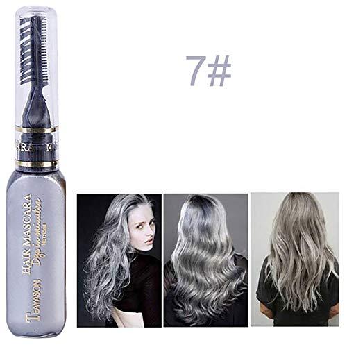 Xiton 1 PC TemporäR Haarfarbe Kreide Sofort HaarfäRbestift Haarfarbe Mascara Ungiftig Waschbar Haarkreide Perfekt FüR Haar-Styling-Tool (Grau)