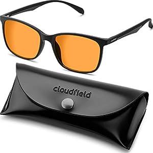 Amber Blue Light Blocking Glasses for Women Men - Black Square Nerd Eyeglasses Frame - Anti Blue Ray Computer Gaming Glasses - Transparent UV Lenses for Reading TV Phones