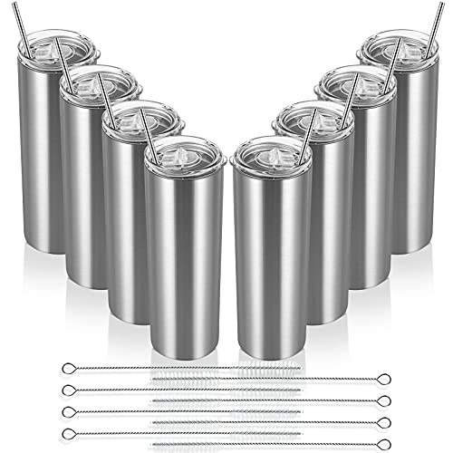 20 Oz Skinny Travel Tumblers, 8 Pack Stainless Steel Skinny Tumblers with Lid Straw, Double Wall...