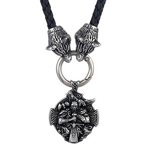 Hombre Acero Inoxidable Vikingo Odin Raven Axe Tótem Colgante con Collar de Cuero Cabeza de Lobo Doble, Mitología Nórdica Fenrir Animal Amuleto Pagano Charms Joyería (Size : 60CM)