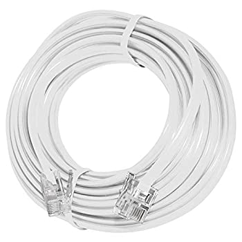 15  Feet Telephone Extension Cord Cable Line Wire White RJ-11 by True Decor