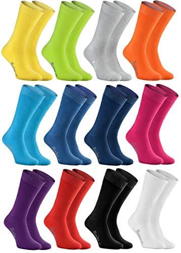Rainbow Socks - Hombre Mujer Calcetines de Felpa Calidos y Coloridos - 12 Pares - Multicolor - Talla 36-38