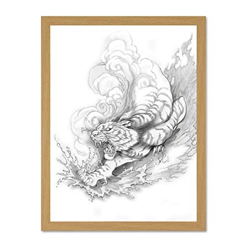 Doppelganger33 LTD Painting Drawing Illustration Japanese Tiger Tattoo Japan Large Framed Art Print Poster Wall Decor 18x24 inch Supplied Ready to Hang