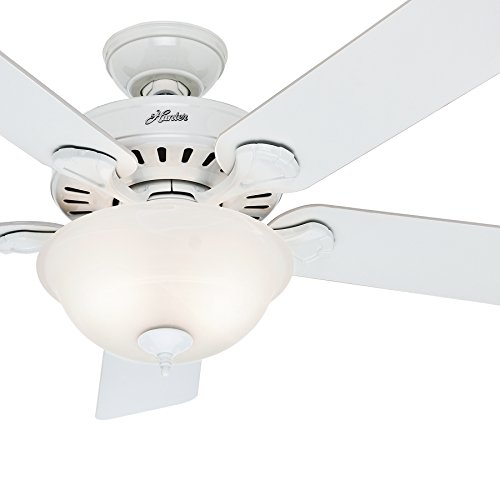 Hunter Fan 52in Traditional Ceiling Fan in Snow White with Swirled Marble Glass Light Kit (Renewed)
