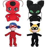 4PCS Miraculous Tales Of Ladybug And Cat Noir Plush Toys, Tikki Plagg Plushies Stuffed Animal Doll For Kids,30cm (#B)