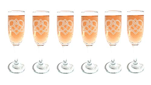 Celtic Love Knot Champagne Flutes Set of Six : Free Personalized Engraving