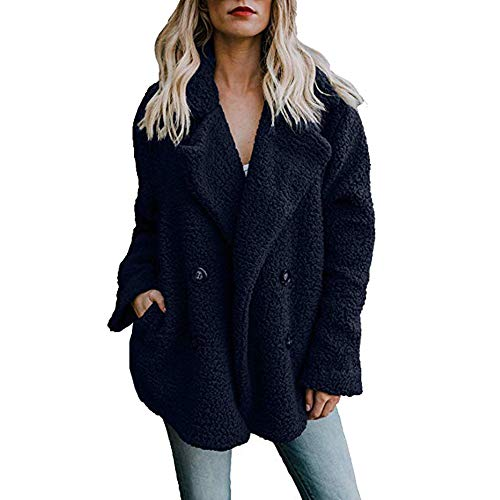 Women's Coat Casual Lapel Fleece Fuzzy Faux Shearling Button Warm Outwear Plush Vest Jackets with Pockets(Navy,S)