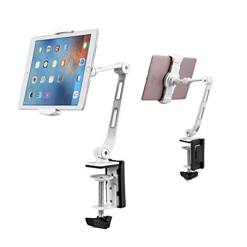 Suptek Aluminium Clamp Tablet Tischhalterung 360 ° Flexibler Handyhalter für iPad, iPhone, Samsung, Asus und mehr 4,7-11 Zoll Geräte, gut für Bett, Küche, Büro (YF208BW) Weiß