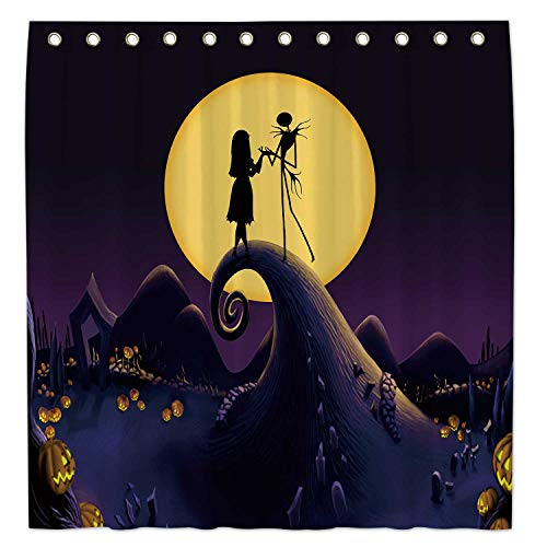 Allenjoy 72x72 Inch Nightmare Before Christmas Shower Curtain for Bathroom Sets Halloween Home Bathtub Decors Decoration Customizable Durable Waterproof Fabric Machine Washable Curtains with 12 Hooks